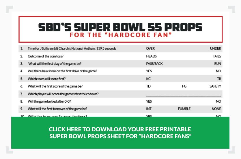 Super Bowl props sheet for hardcore fan
