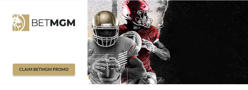 BetMGM logo with football players red white gold jerseys
