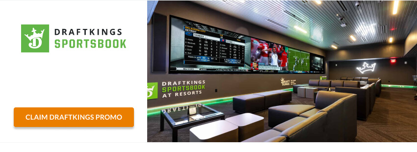 DraftKings retail sportsbook couch tables tv logo