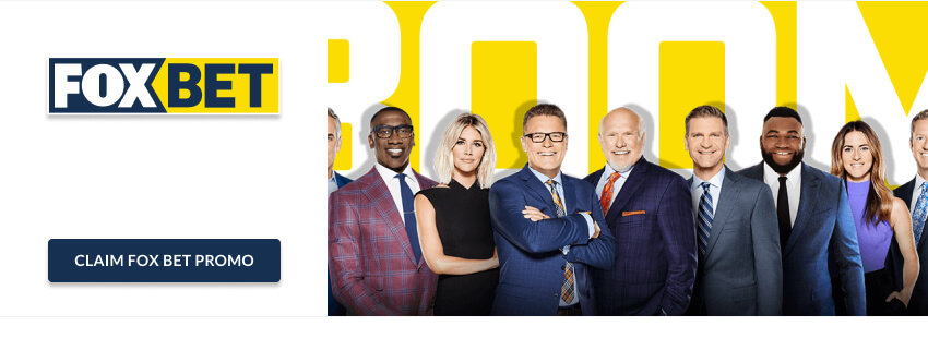 FOX newscasters over yellow and white background with FOX Bet logo