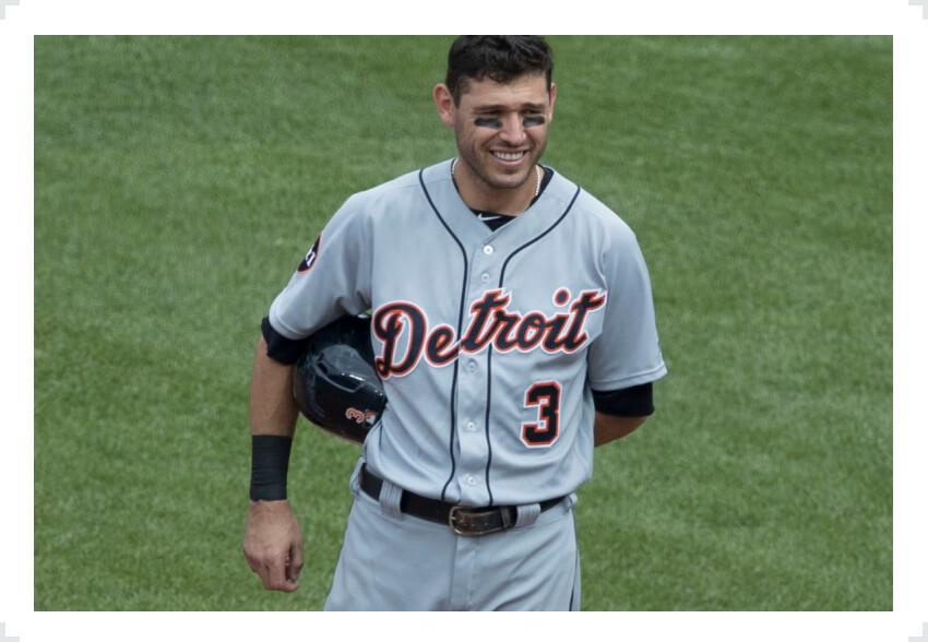 Ian Kinsler holding helmet one arm behind back Detroit Tigers