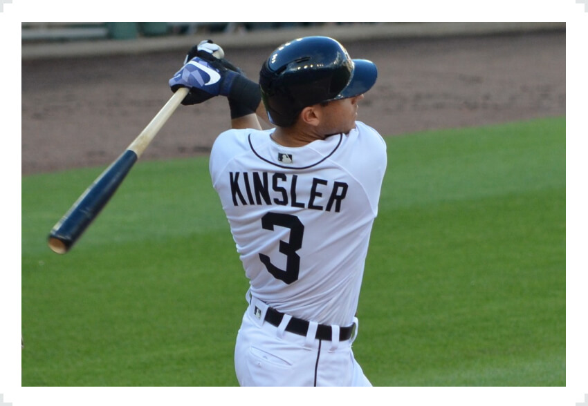 Ian Kinsler swinging baseball bat with two hands