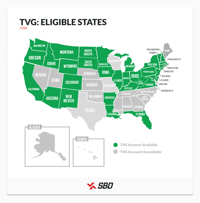 Map of states where TVG accounts are available