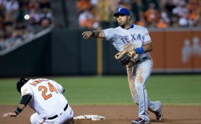 Texas Rangers Elvis Andrus turning double play