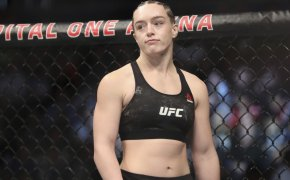 A midshot of Aspen Ladd ready to start her UFC fight.