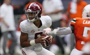 Alabama quarterback Bryce Young dropping back to pass