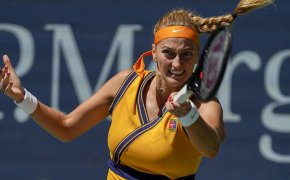 Petra Kvitova hitting a return during a match at the US Open.