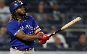 Vladimir Guerrero Jr admires a home run