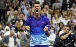 Novak Djokovic celebration reaction