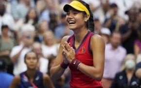 Emma Raducanu celebrating after winning the US Open.