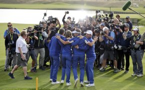 Team Europe celebrates 2018 Ryder Cup victory