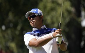 Hideki Matsuyama admires a shot