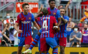 Barcelona goal celebration