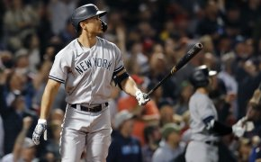 New York Yankees' Giancarlo Stanton at the plate