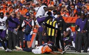 Lamar Jackson hurdles vs Denver Broncos