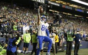 Tyler Higbee celebrates vs Seattle Seahawks