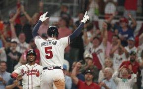 Atlanta Braves Freddie Freeman celebrating a home run