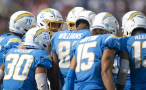 Chargers huddle