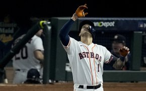 Carlos Correa reacts after an RBI single