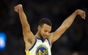 Steph Curry celebrates