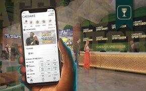 Caesars Arizona Sportsbook retail location render with mobile phone example