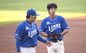Samsung Lions players on the field