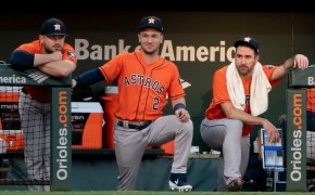 Astros players in the dugout