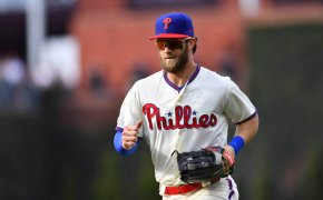 Phillies OF Bryce Harper running the bases.