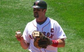 Former Red Sox catcher Jason Varitek warming up