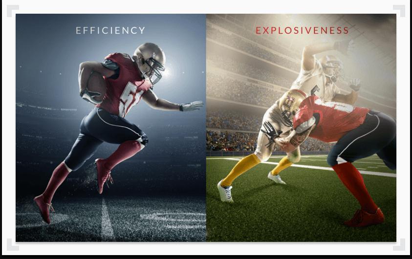 Efficiency vs. Explosiveness college football images split screen