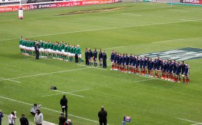 France and Ireland stand at attention for the national anthems