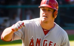 Mike Trout rounding the bases