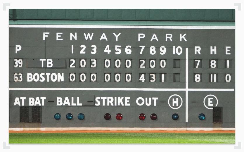 Baseball scoreboard with statis at Fenway Park