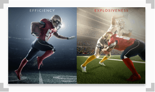 infographic showing the difference between efficiency and explosiveness