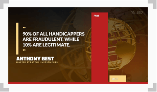 infographic showing a quote by anthony best saying 90% of handicappers are fraudulent