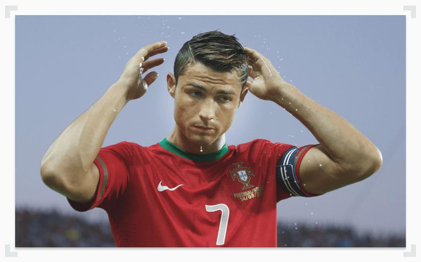 Ronaldo adjusting hair