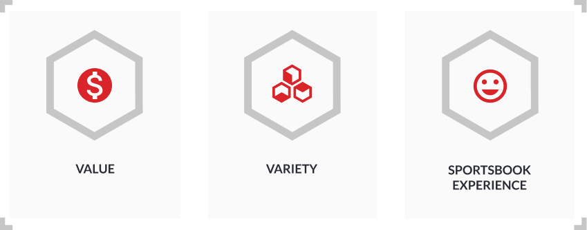 variety value sportsbook experience infographic with hexagon icons