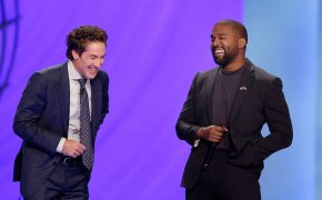 Kanye West and Joel Osteen on stage