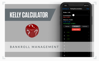A graphic showing the screenshot of the Kelly Calculator mobile app