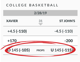 March Madness over/under betting line example