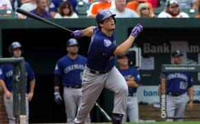 Colorado Rockies's Nolan Arenado swinging the bat