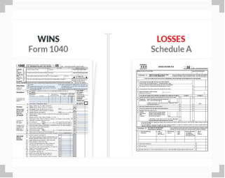 photos of Form 1040 and Schedule A, for filing betting wins and losses in taxes respectively