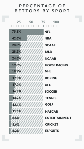 infographic showing percentage of bettors by sport