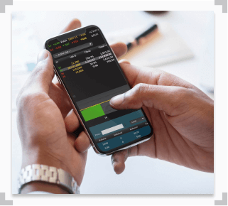 photo of man using a sportsbook cell phone app