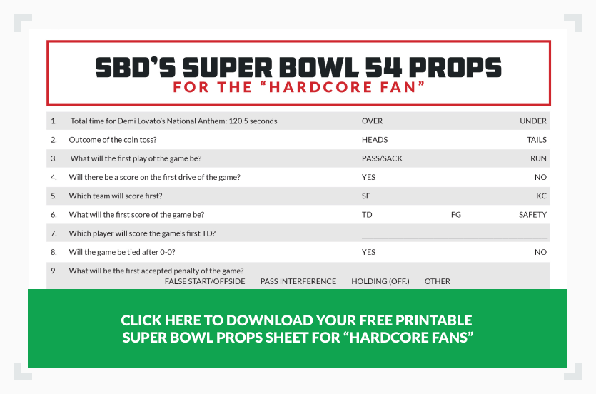 SBD's Super Bowl props sheet for the hardcore fan