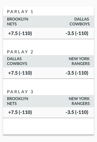 sample round robin betting lines showing odds for three events