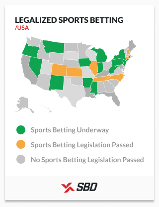 Sports betting legalization map