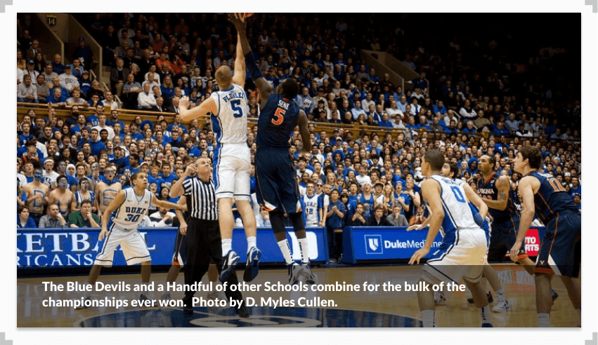 Photo of the tip off at a Duke vs Virginia college basketball game