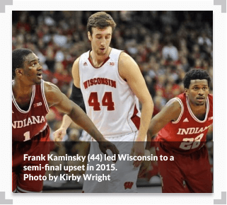 Photo of former Wisconsin center Frank Kaminsky during a basketball game