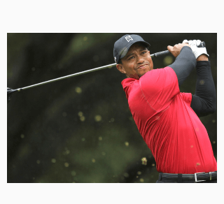 Tiger Woods red shirt swinging